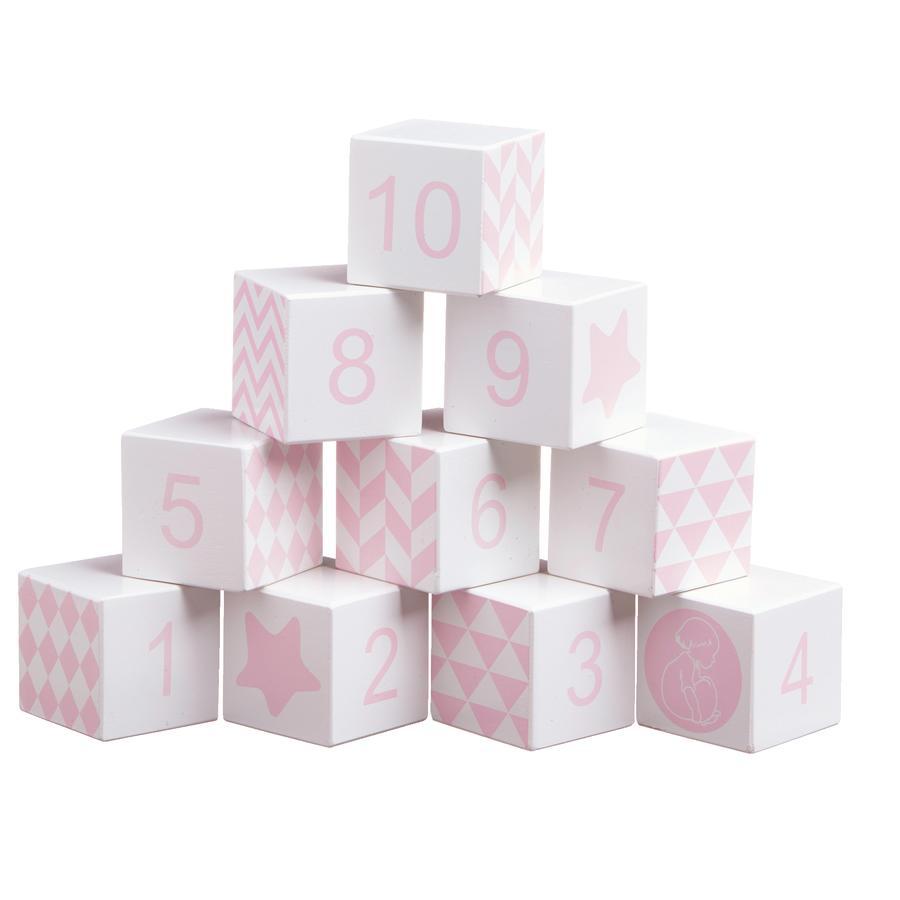 KIDS CONCEPT Dřevěné kostky, růžové