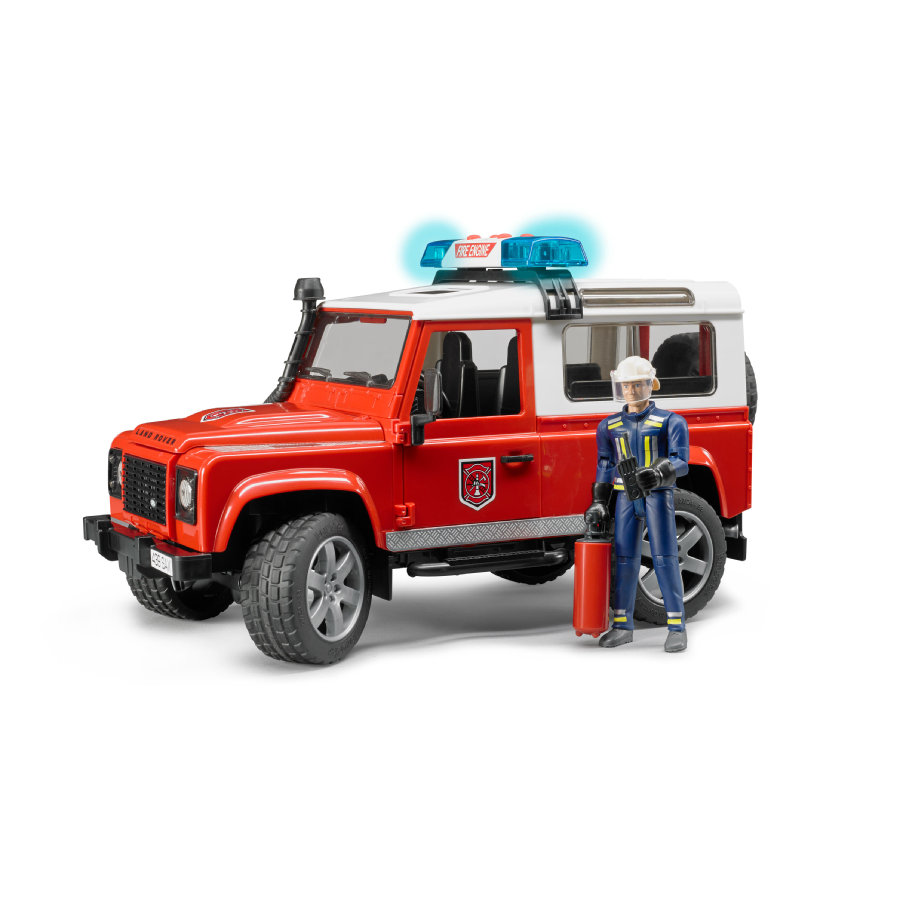 BRUDER® Land Rover Defender Station pompier, rouge 02596