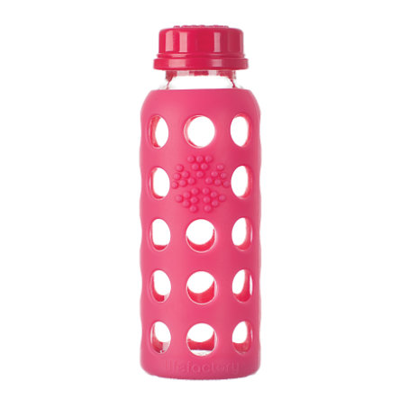 LIFEFACTORY Flaska glas 250ml raspberry