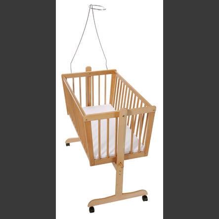 easy baby Wiege natur inkl. Matratze und Himmelstange