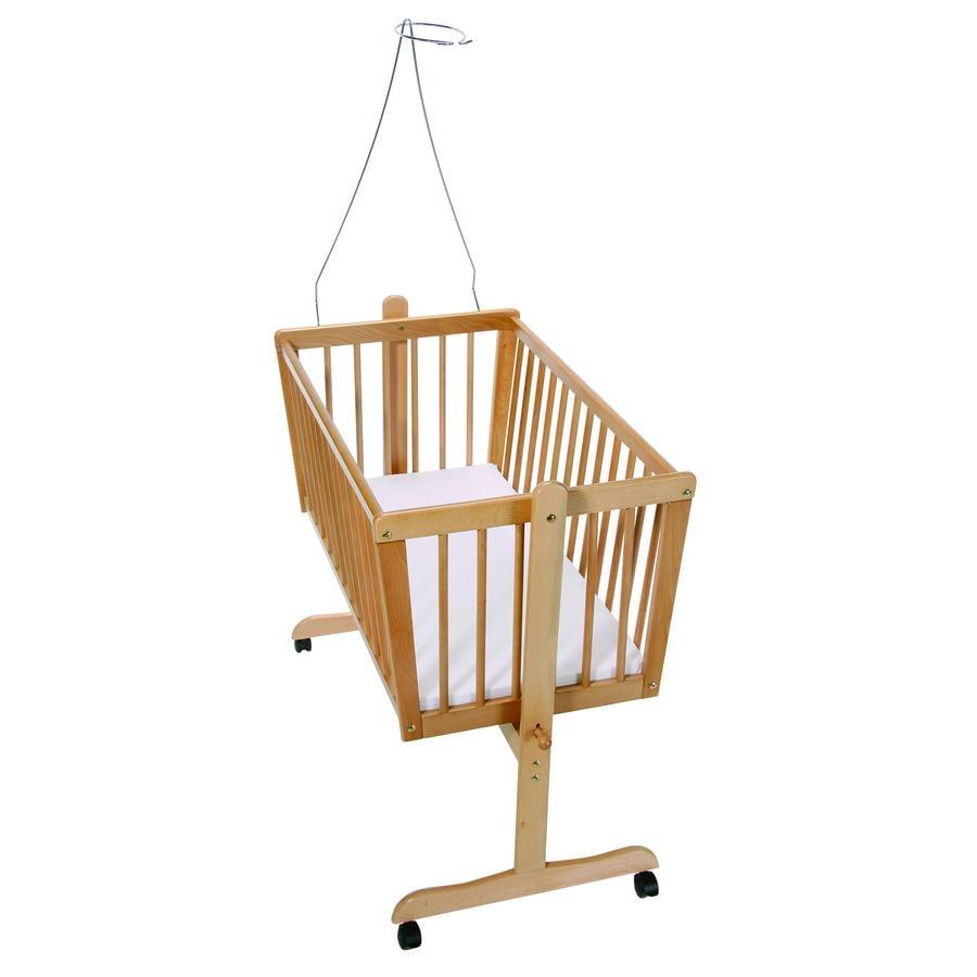 Easy Baby Vagga Bok Natur inkl Madrass och sänghimmelstång