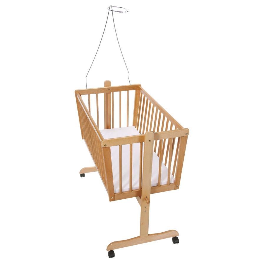 Easy Baby vugge m/ hjul, natur inkl. madras og himmelstang - pinkorblue.dk