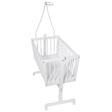 Easy Baby White Beech Cradle incl. Mattress and Canopy Coronet
