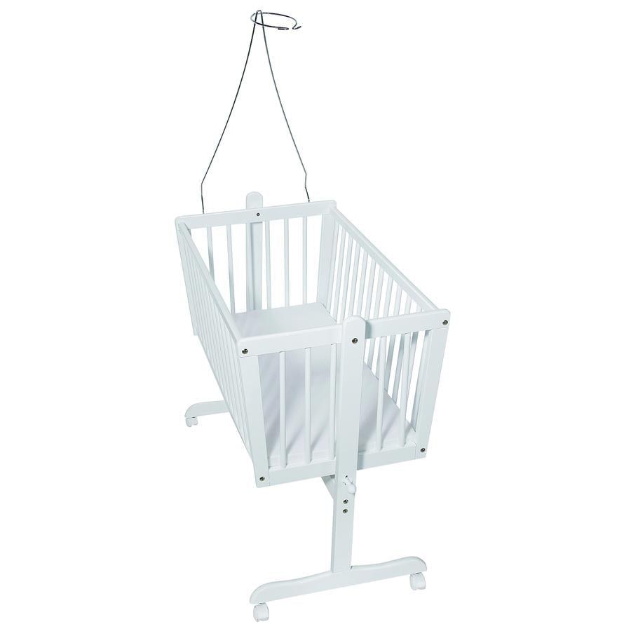 Easy Baby vugge m/ hjul, hvid, inkl. madras og himmelstang