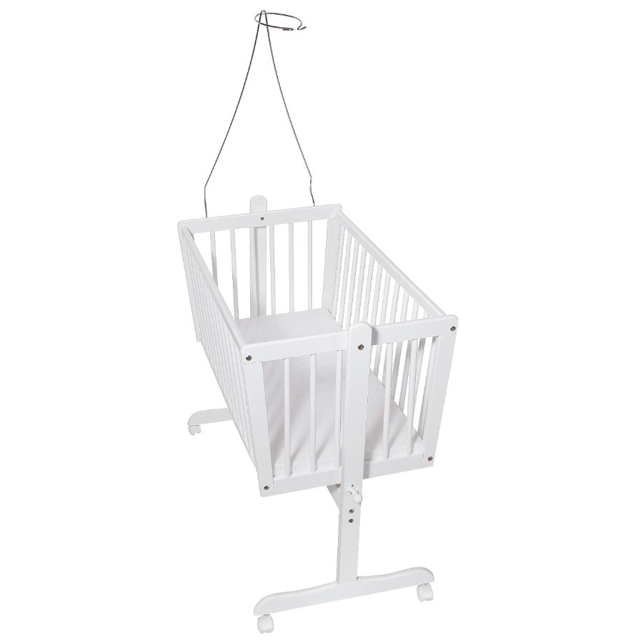 Easy Baby White Beech Cradle Incl Mattress And Canopy