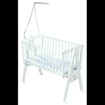 Easy Baby Kolébka s matrací a držákem na nebesa - bílá