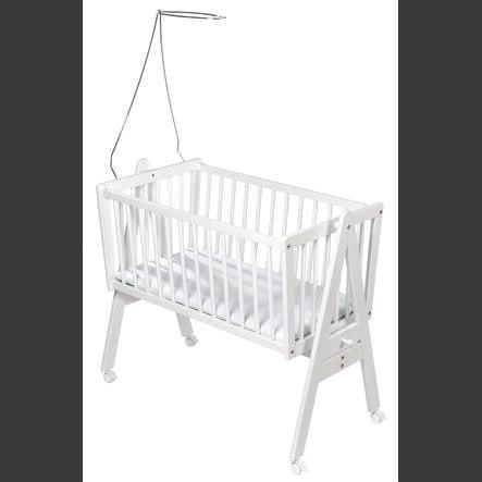 Easy Baby Vagga med hjul inklusive madrass och sänghimmelstång -- vit