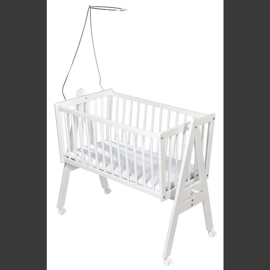 baby vugge Easy Baby vugge m/ hjul inkl. Madras og Himmelholder   hvid  baby vugge