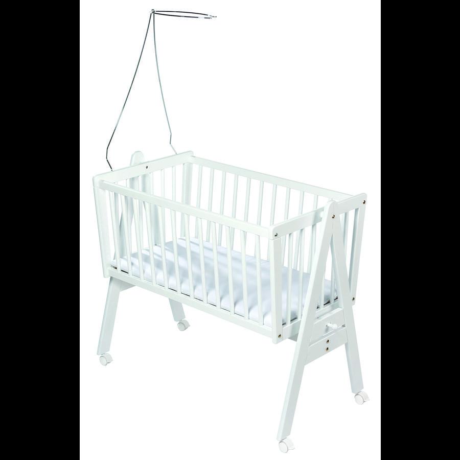Easy Baby Wiege mit Rollen inkl. Matratze und Himmelhalter - weiß