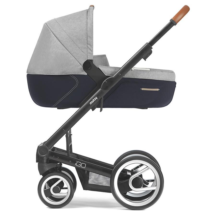 MUTSY Kinderwagen IGO Nomad Gestell Pure Black inkl. Wanne Pure Fog