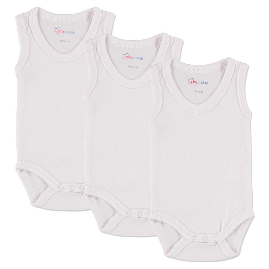 PINK OR BLUE Body na ramiączkach 3szt. kolor biały