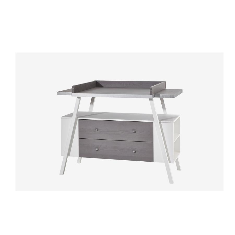 SCHARDT Commode à langer avec table HOLLY GREY, large, blanc/gris