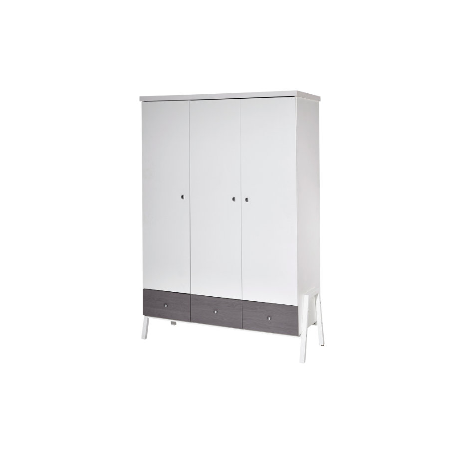 SCHARDT Armoire 3 portes HOLLY GREY, blanc/gris