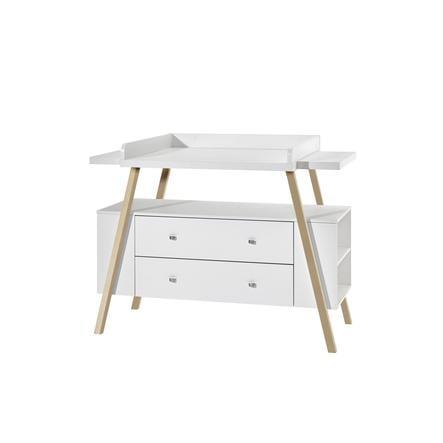 SCHARDT Mobile fasciatoio con superficie di appoggio HOLLY NATURE bianco / legno naturale