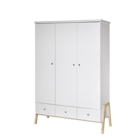 SCHARDT Armoire 3 portes HOLLY NATURE, blanc/couleurs bois