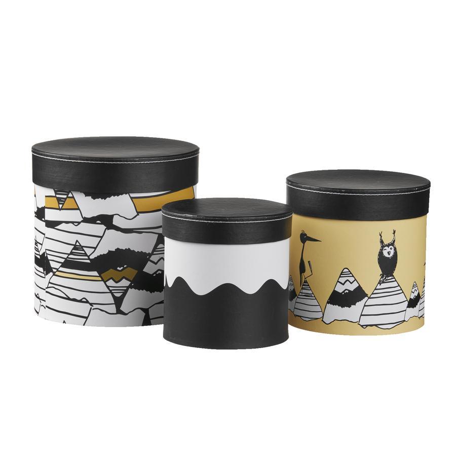 KIDS CONCEPT Bewaarboxen 3 stuks Neo, rond, zwart/wit/geel