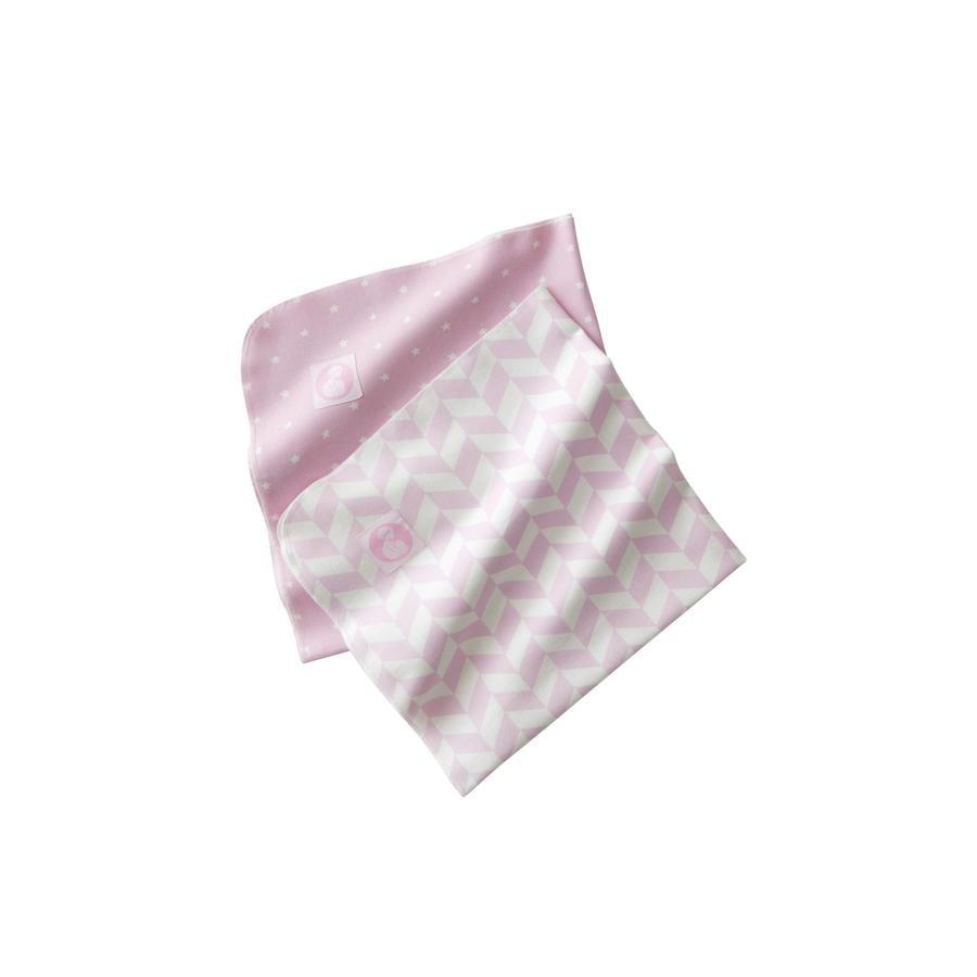 KIDS CONCEPT Flanelová deka kamarádi ze stodoly 2 ks, růžová