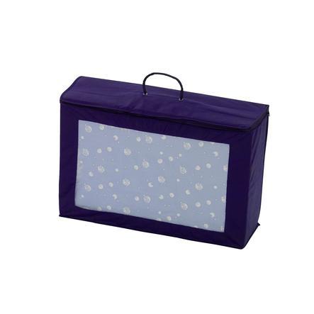 ALVI Matelas de lit parapluie, bleu avec motif exclusif d'ALVI, sac de transport inclus