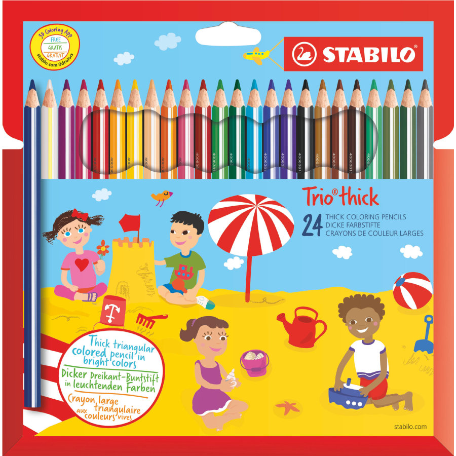 STABILO Boîte Trio Crayons larges triangulaires, avec taille-crayon, 24 pièces