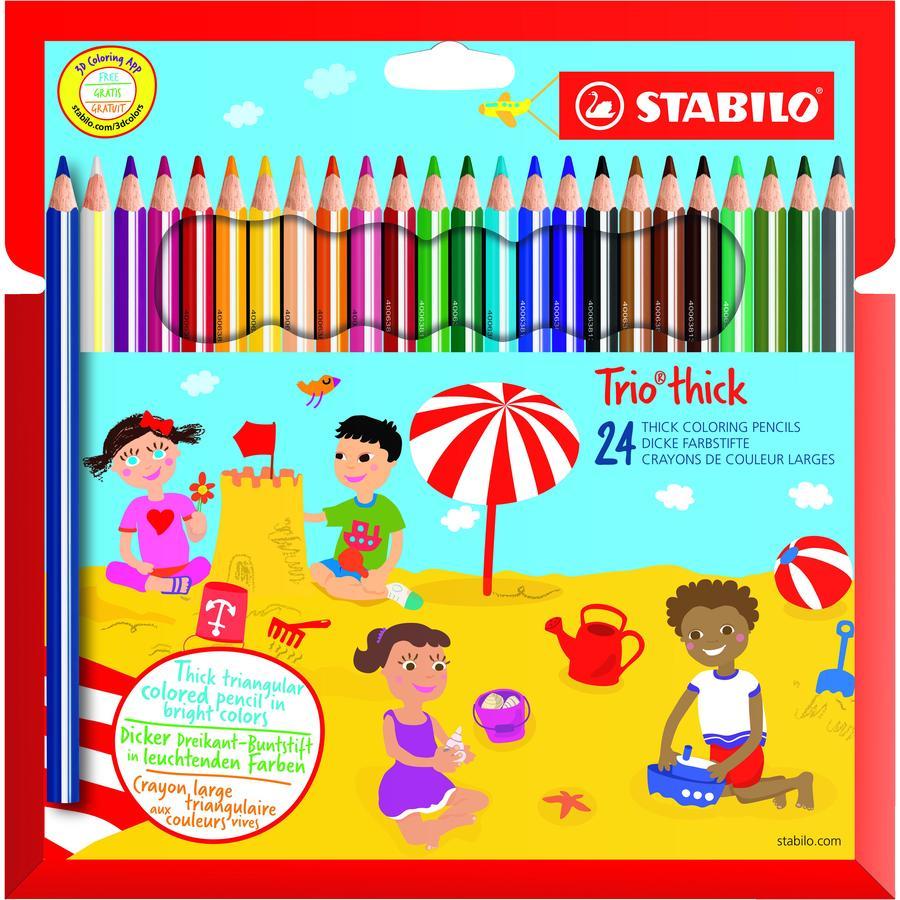 STABILO Trio potloden dik 24 stuks met puntenslijper