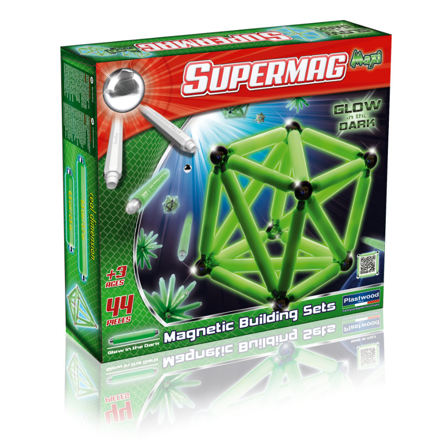 PLASTWOOD SUPERMAG Maxi - Glow in the Dark 44 dílů