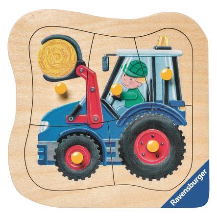 RAVENSBURGER Kontur-Holzpuzzle: Blauer Traktor, 5 Teile