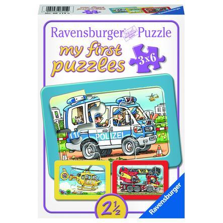 RAVENSBURGER My first Puzzle - Brandbil, polis och ambulans  3x6 bitar