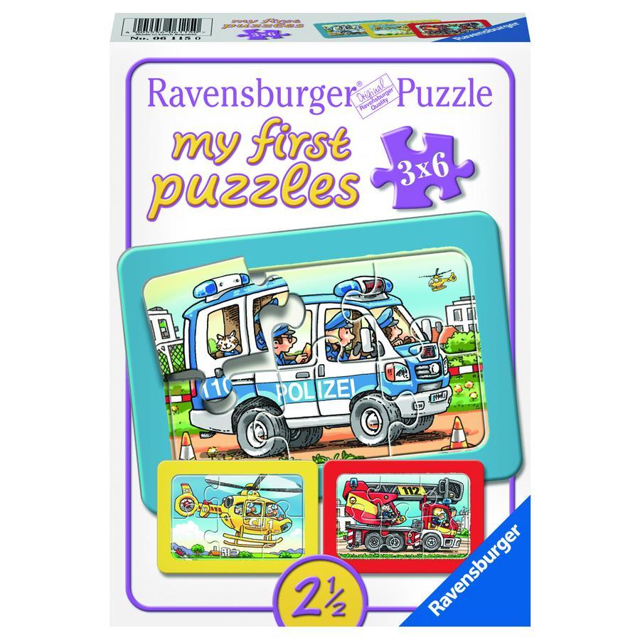 RAVENSBURGER My First Puzzle - Brandweer, politie en helicopter 3x 6 stukjes