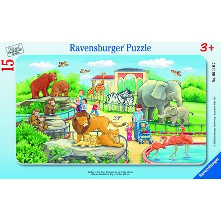 Ravensburger ramme puslespill - tur til dyrehagen, 15 stykker