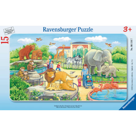 RAVENSBURGER Rámové puzzle - Výlet do zoologické zahrady, 15 dílů