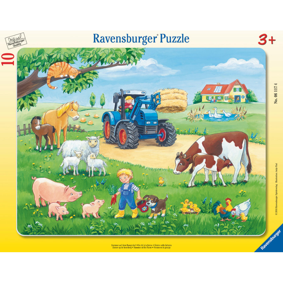 RAVENSBURGER Rámové puzzle - Léto na farmě, 10 dílů