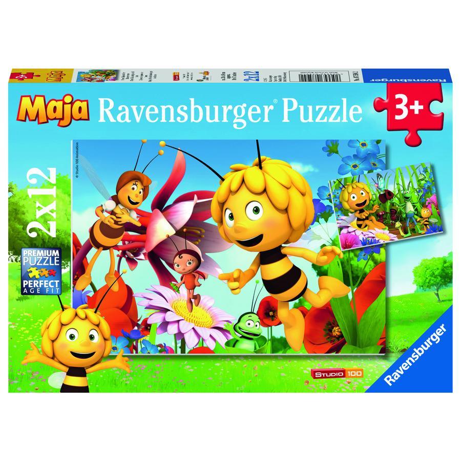 RAVENSBURGER Puzzle 2x12 elementów - Pszczółka Maja na łące