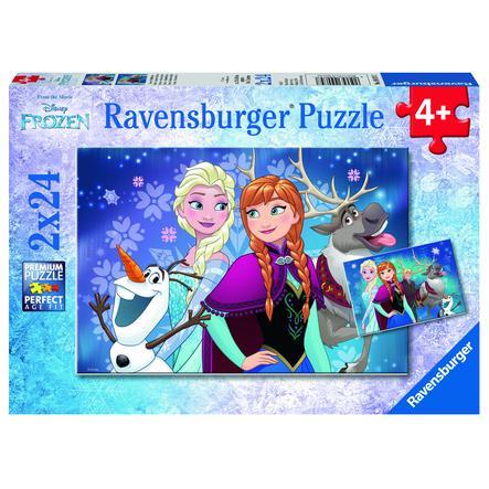 RAVENSBURGER Puzzle 2x24 dílů - Disney Ledové království - Severní polární záře