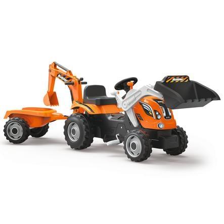 SMOBY Traktor Builder Max med släp och skopa fram och bak