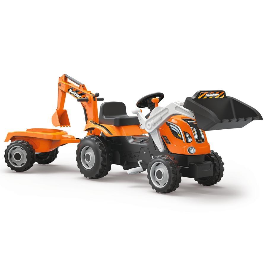 SMOBY Traktor Builder Max met aanhanger, bagger en shovel