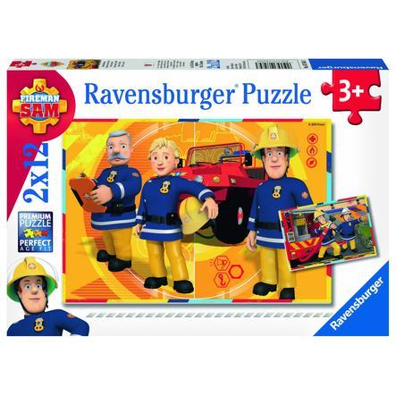 RAVENSBURGER Puzzle 2x12 elementów - Strażak Sam: Sam w akcji
