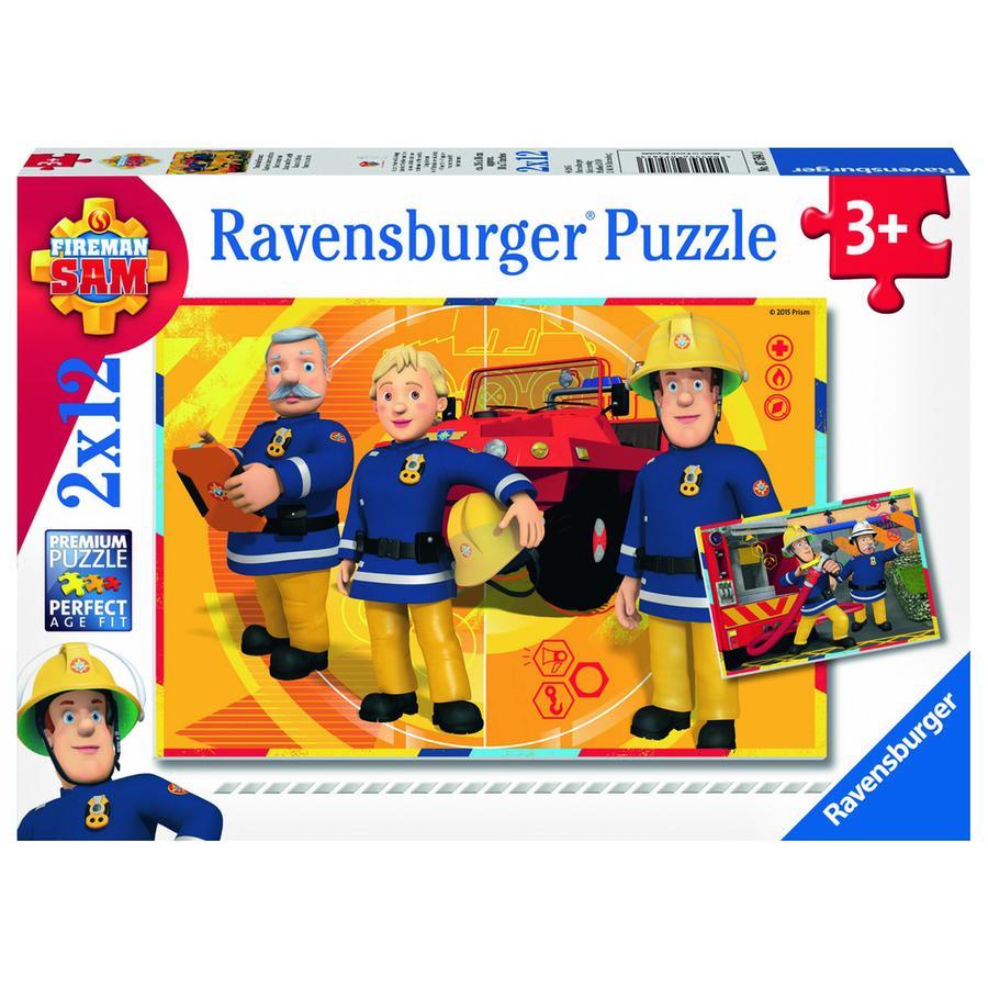 RAVENSBURGER Puzzle 2x12 Teile  - Feuerwehrmann Sam: Sam im Einsatz