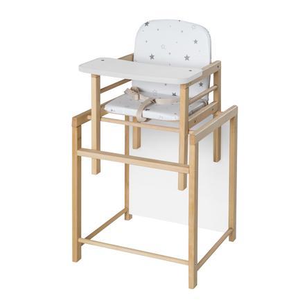 SCHARDT Jídelní židlička XTRA II přírodní naolejovaná hvězdičky šedá
