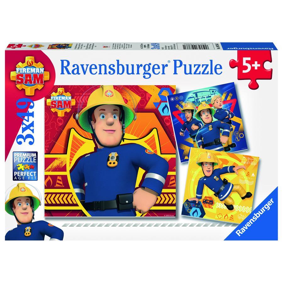 RAVENSBURGER Puzzle 3x49 - Strażak Sam: w razie niebezpieczeństwa dzwoń po Sama