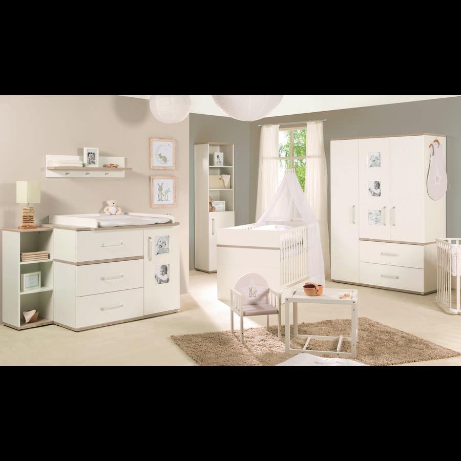 roba Ensemble lit enfant, armoire 3 portes, commode à langer large Moritz blanc