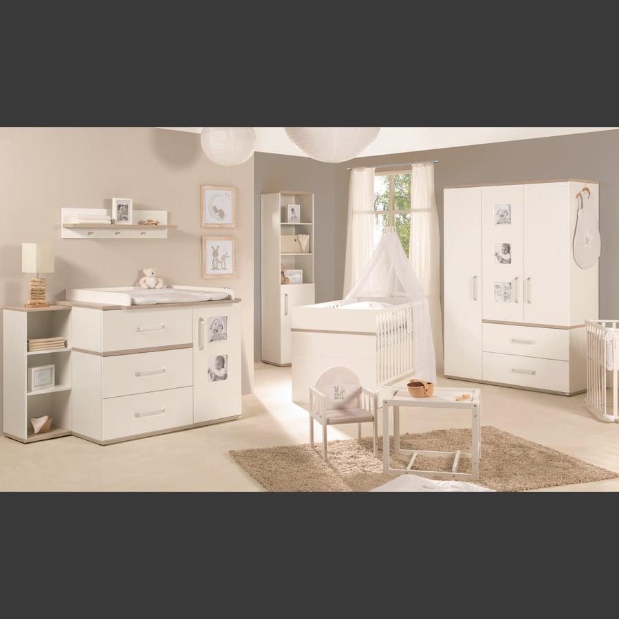 roba Meble dziecięce Moritz, biały z szeroką komodą i 3-drzwiową szafą
