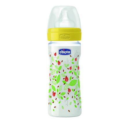 chicco Wohlbefinden Babyfläschchen gelb 250ml 2M+ Silikon