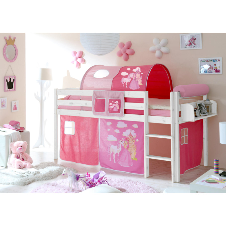 ticaa hochbett malte kiefer wei horse pink. Black Bedroom Furniture Sets. Home Design Ideas