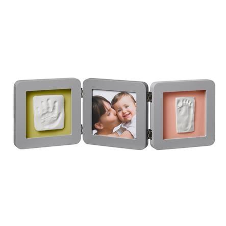 BABY ART Fotoram med avtyck- Double Print Frame Grey