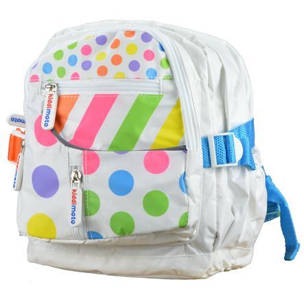 kiddimoto® Sac à dos enfant Design, fixation casque, Pois multicolores, petit