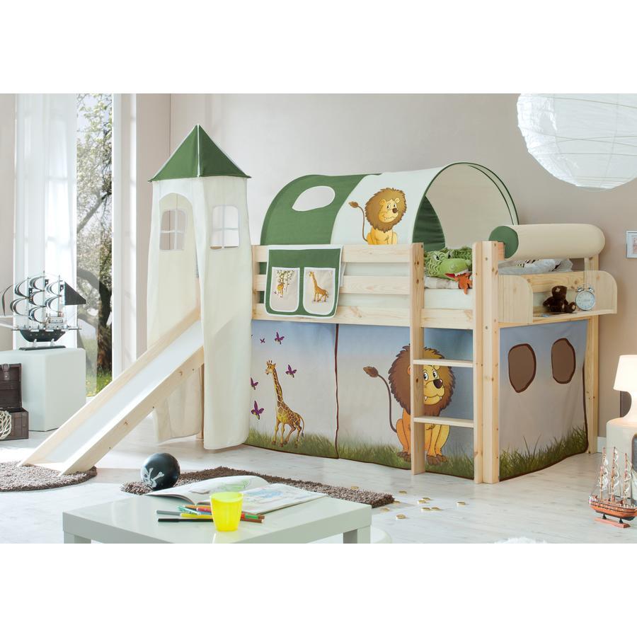 TICAA Patrová postel se skluzavkou a věží Kasper borovice přírodní - Safari