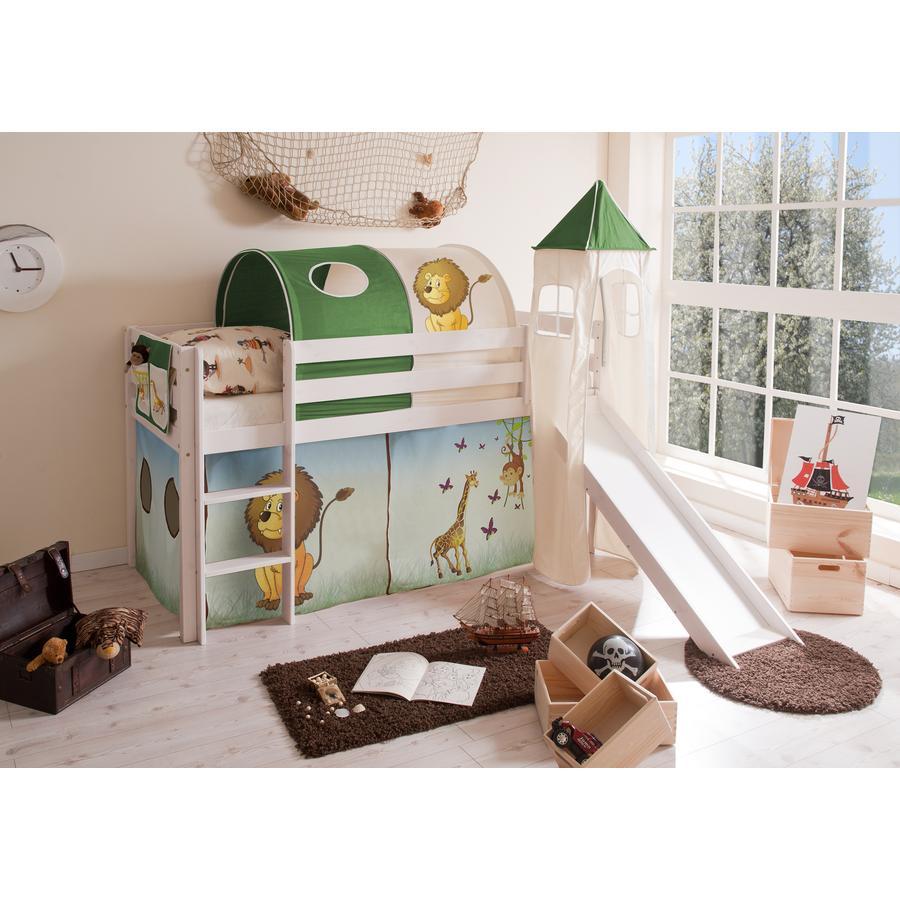 TICAA Patrová postel se skluzavkou a věží MANUEL borovice bílá - Safari