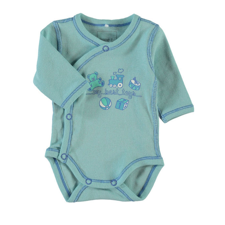 NAME IT Boys Prematuur Wikkelromper NITWONDER canal blue