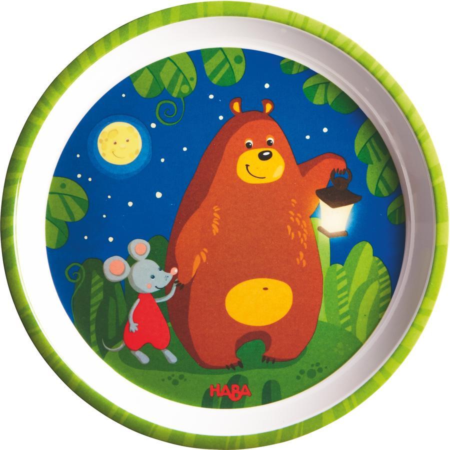 HABA Melaminový talíř - Noční hlídač Medvěd 302083