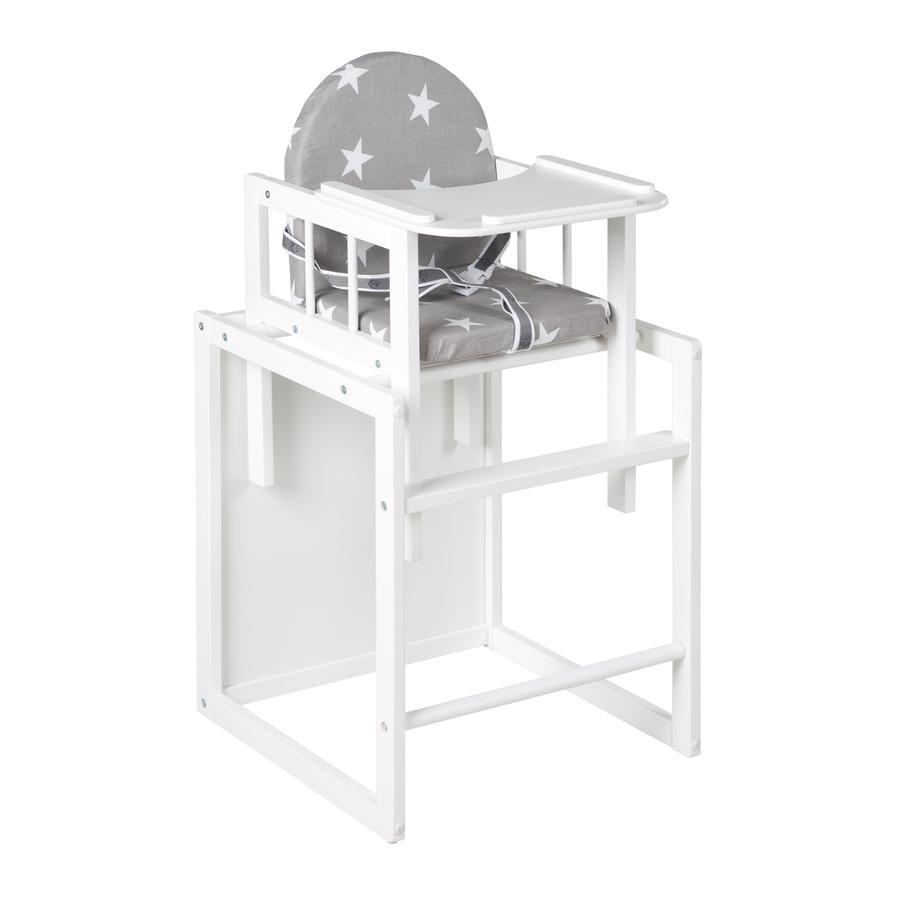 ROBA Kombinovaná jídelní židlička Little Stars, bílá
